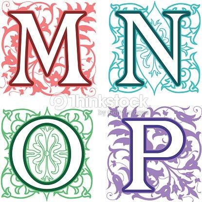 M N O P Alphabet Letters Floral Elements Vector Art