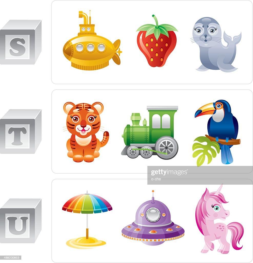 Alphabet letters S, T, U icon set