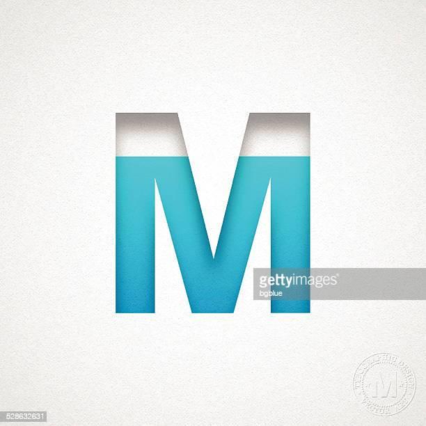 alphabet m design - blue letter on watercolor paper - letter m stock illustrations, clip art, cartoons, & icons