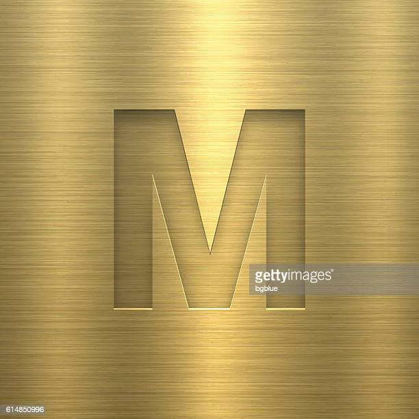 alphabet m design - letter on gold metal texture - letter m stock illustrations, clip art, cartoons, & icons