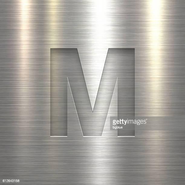 alphabet m design - letter on metal texture background - letter m stock illustrations, clip art, cartoons, & icons