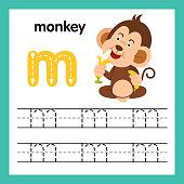 Alphabet M exercise with cartoon vocabulary