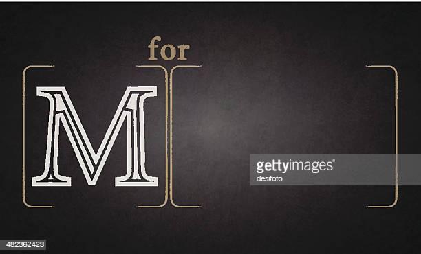 ilustraciones, imágenes clip art, dibujos animados e iconos de stock de alfabeto en pizarra-m - letra m