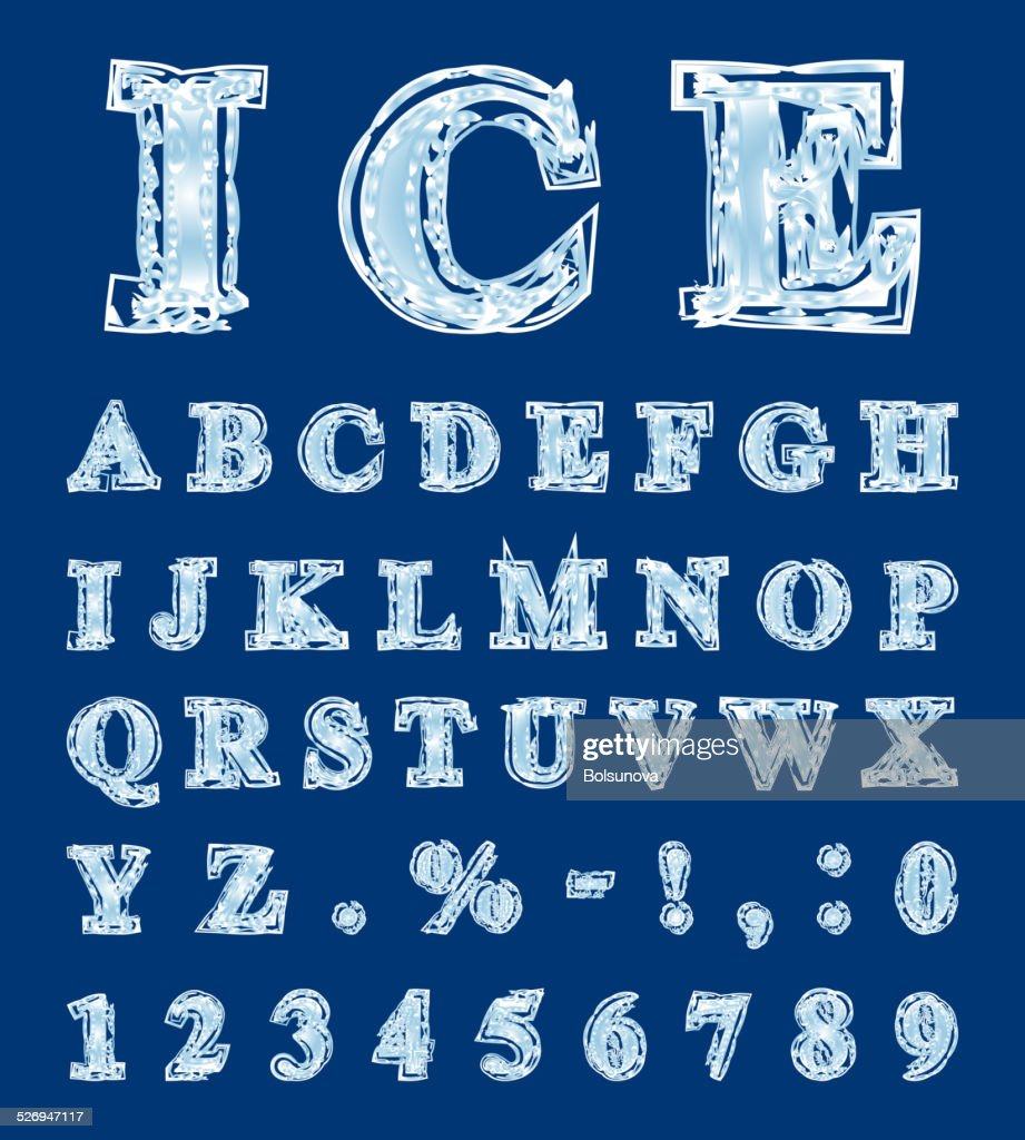 Alphabet made in the form of ice