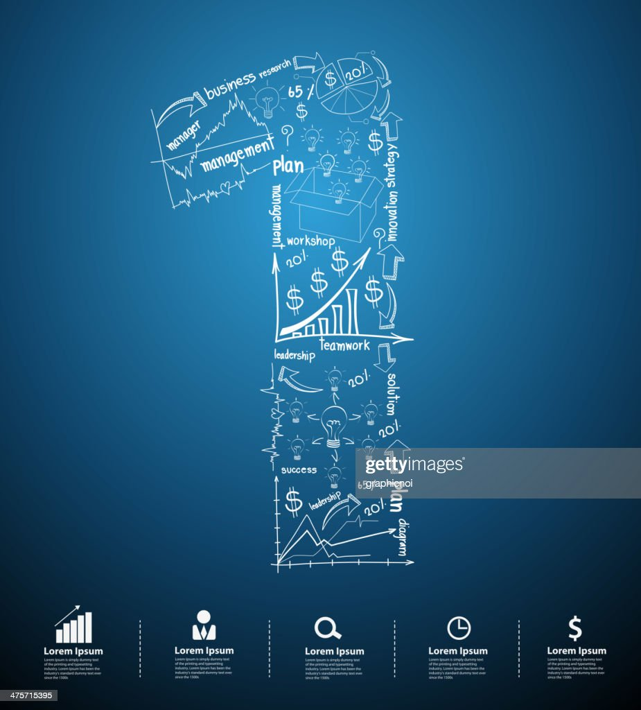 Alphabet number 1 creative drawing business plan concept ideas