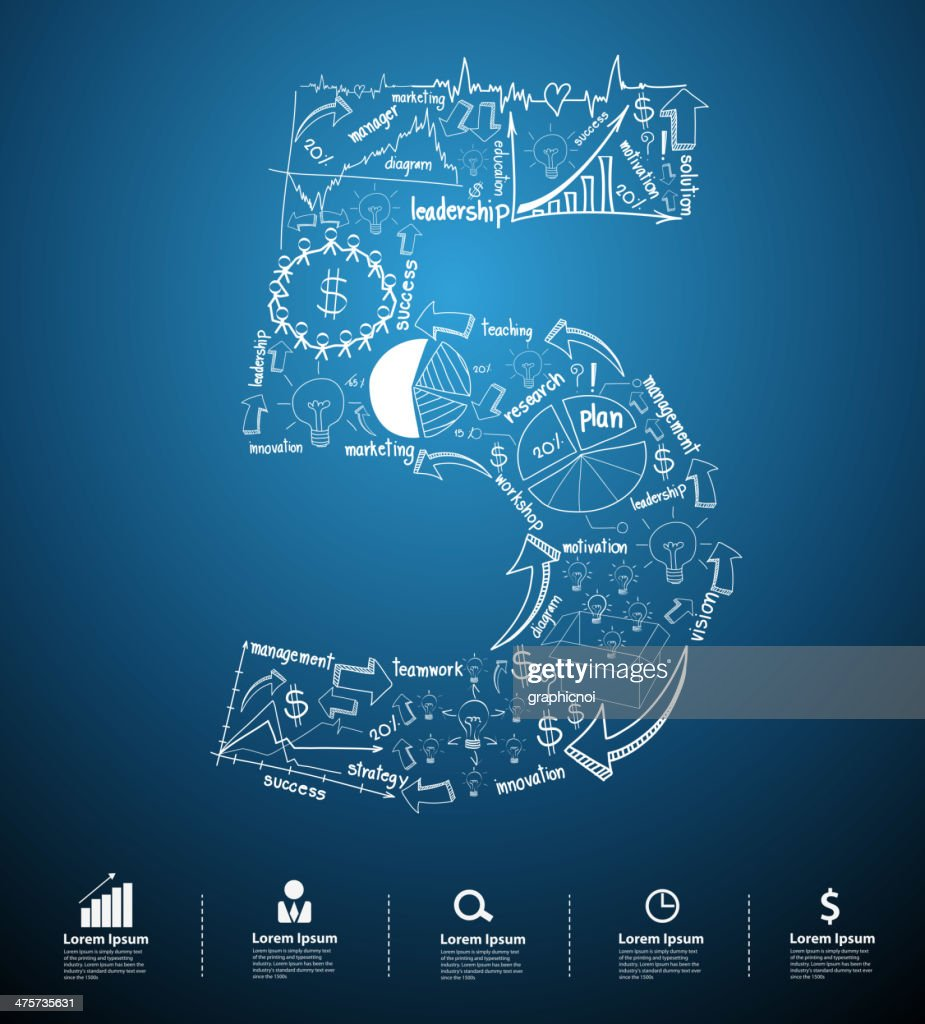Alphabet number 5 creative drawing business plan concept ideas