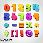 3D alphabet number colorful font.