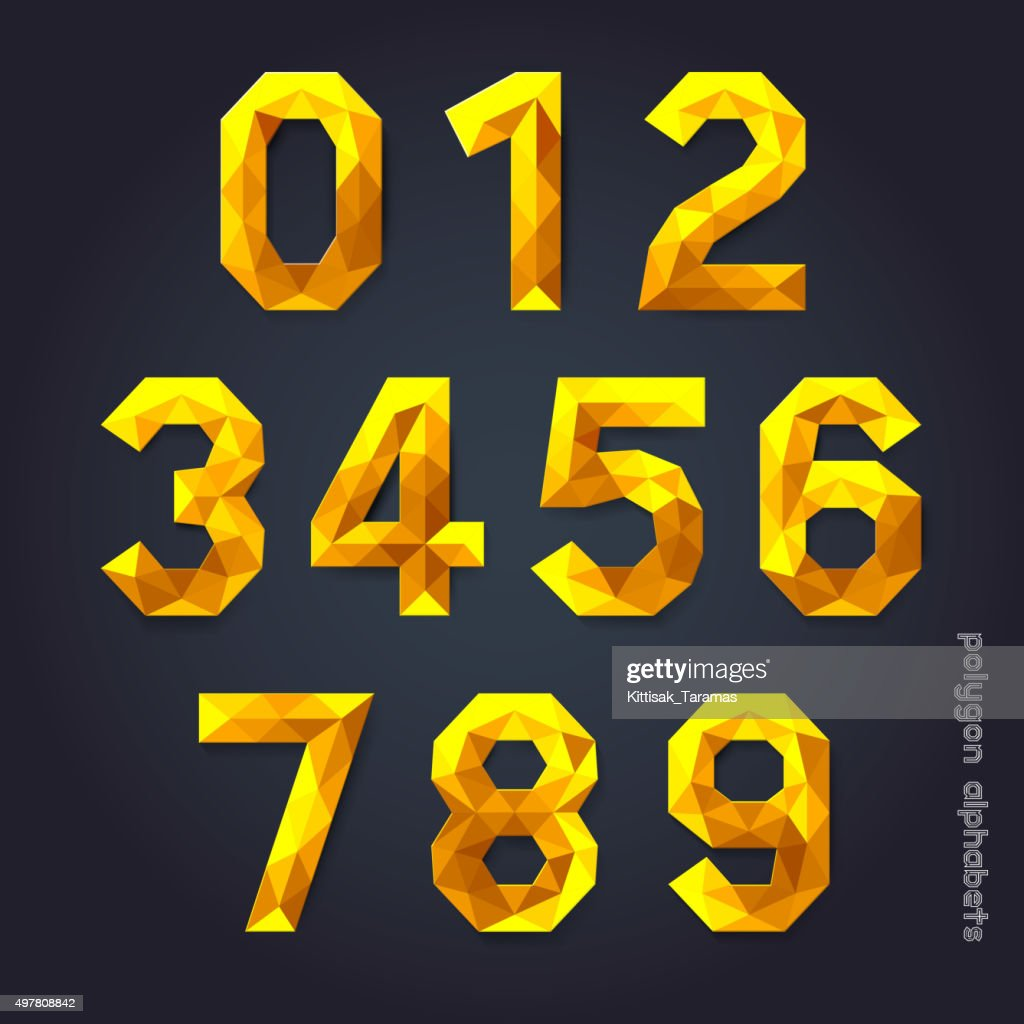 Alphabet number gold color polygon style.