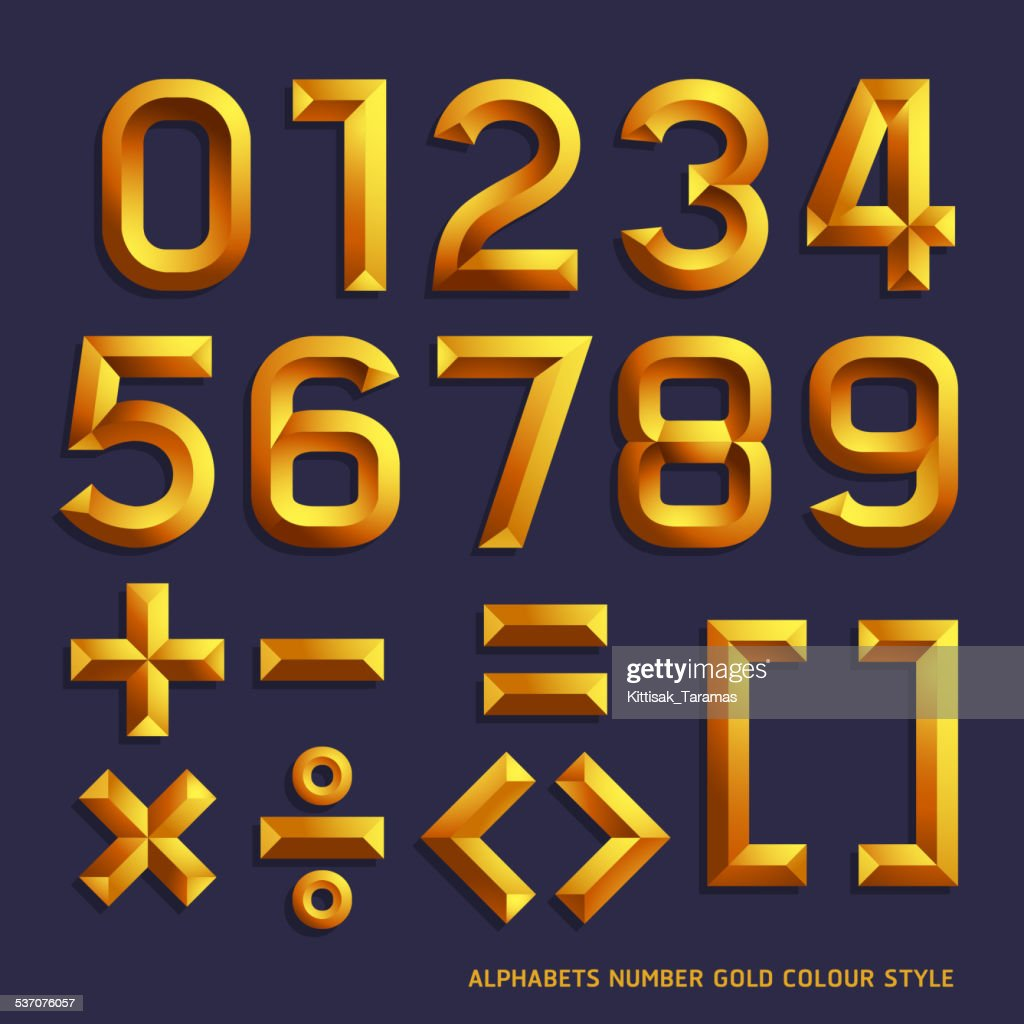 Alphabet number gold colour style.