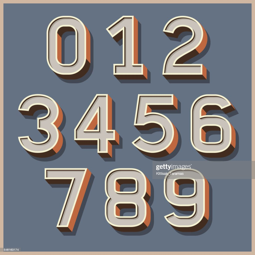 Alphabet numbers retro colour style.