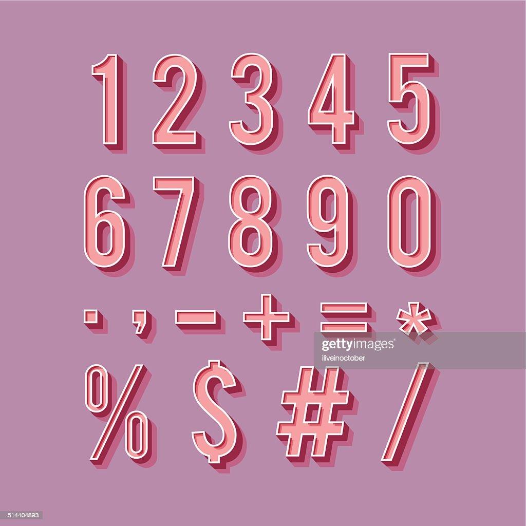 Alphabet numbers retro style