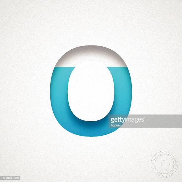 Alphabet O Design - Blue Letter on Watercolor Paper