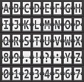alphabet of black and  white mechanical panel