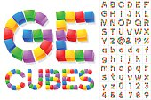Alphabet of children's cube blocks