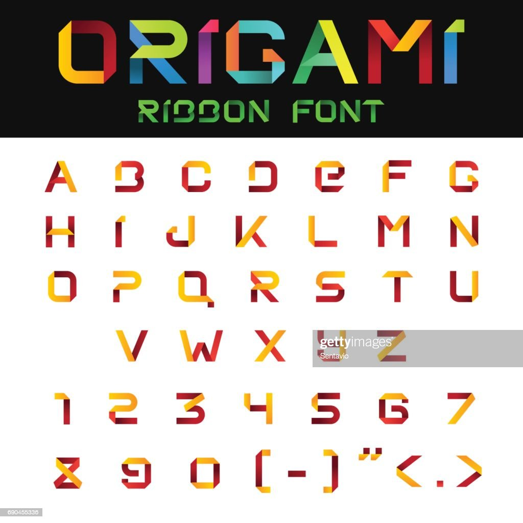 ABC alphabet Origami Paper Ribbon Font vector design. Letters and Numbers.
