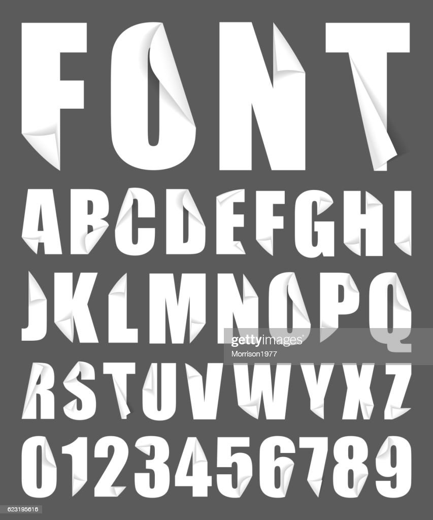 alphabet paper folded font vector