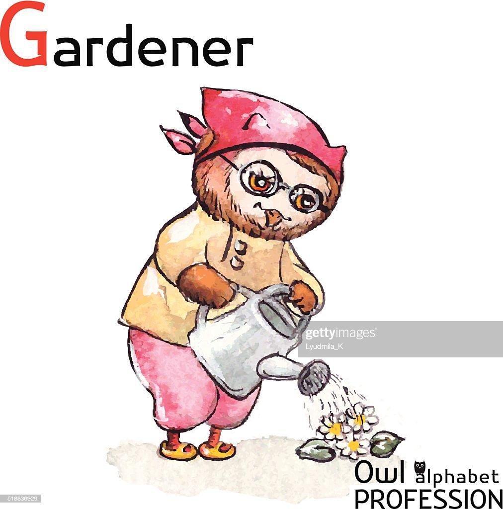 Alphabet professions Owl - Gardener character Vector Watercolor.