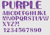 Alphabet purple mosaic texture design, uppercase letters, numbers, question and exclamation mark