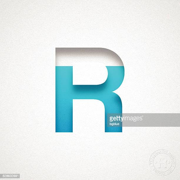alphabet r design - blue letter on watercolor paper - letter r stock illustrations