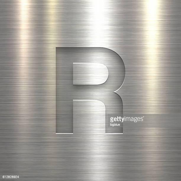 alphabet r design - letter on metal texture background - letter r stock illustrations