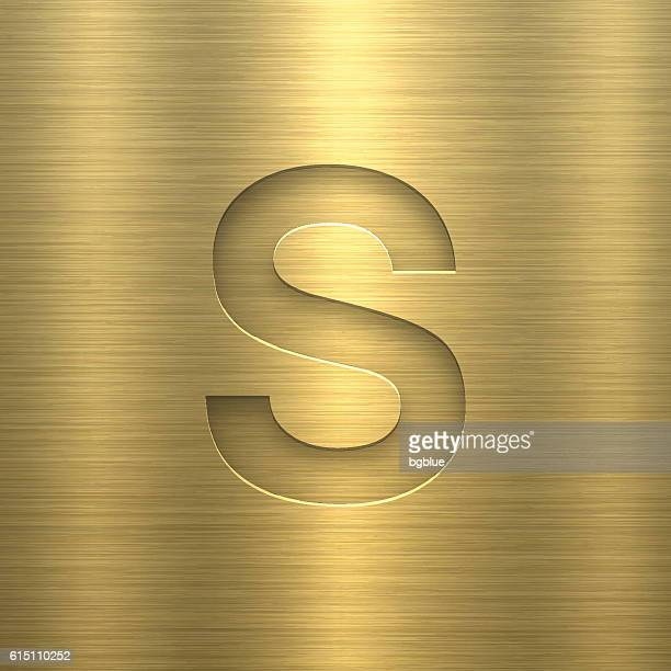 alphabet s design - letter on gold metal texture - letter s stock illustrations, clip art, cartoons, & icons