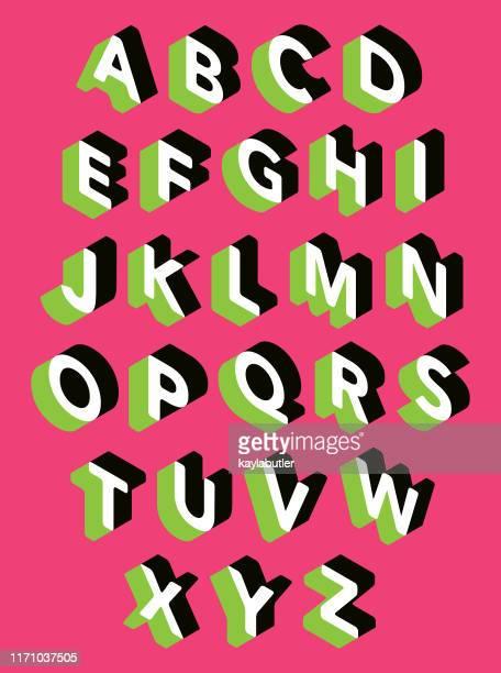 illustrations, cliparts, dessins animés et icônes de ensemble d'alphabet 3d - être à l'ombre