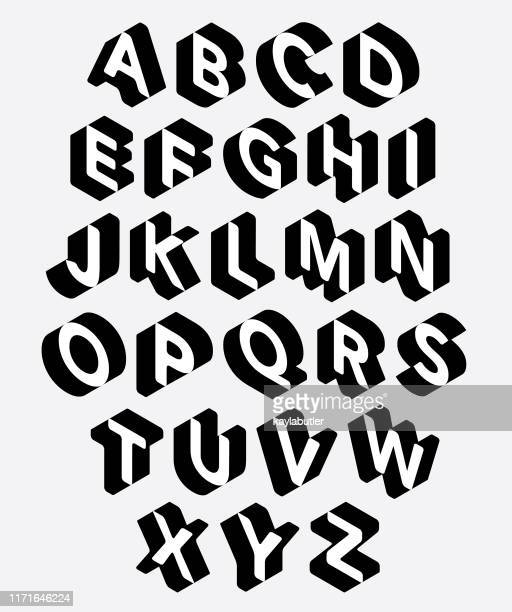 3d alphabet set - calligraphy stock illustrations