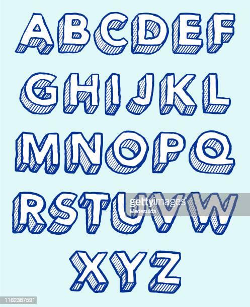 ilustrações, clipart, desenhos animados e ícones de hachura 3d do esboço do alfabeto - caligrafia