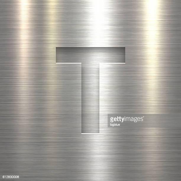 ilustrações de stock, clip art, desenhos animados e ícones de alphabet t design - letter on metal texture background - letra t