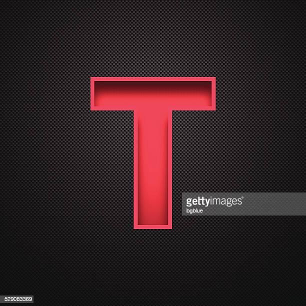 ilustrações de stock, clip art, desenhos animados e ícones de alfabeto-letra t design vermelho sobre fundo de fibra de carbono - letra t