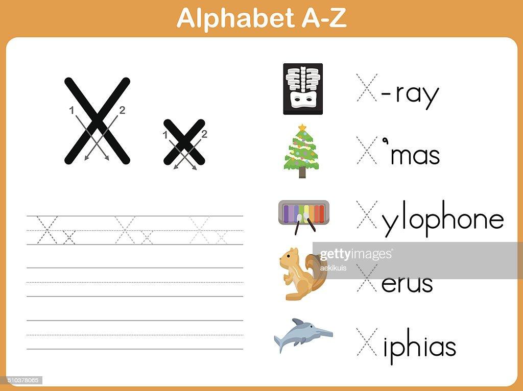 Alphabet Tracing Worksheet Writing Az Vector Art   Getty Images