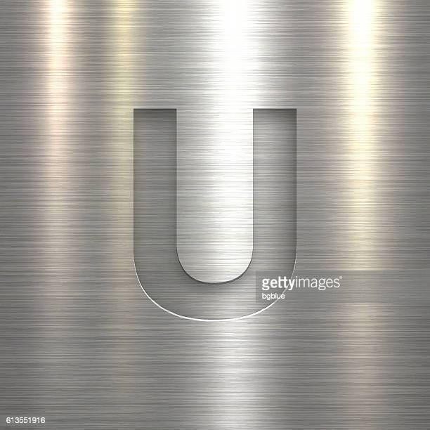 Alphabet U Design - Letter on Metal Texture Background