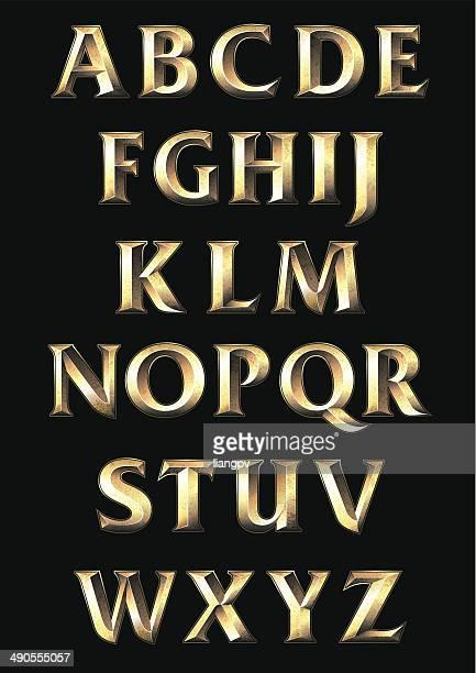 illustrazioni stock, clip art, cartoni animati e icone di tendenza di alfabeto - oro metallo