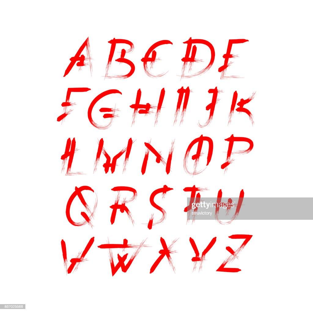 Alphabet vector set of red capital handwritten letters.