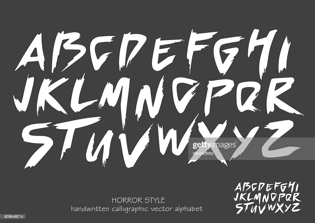 Alphabet vector set of white capital  letters on black background.