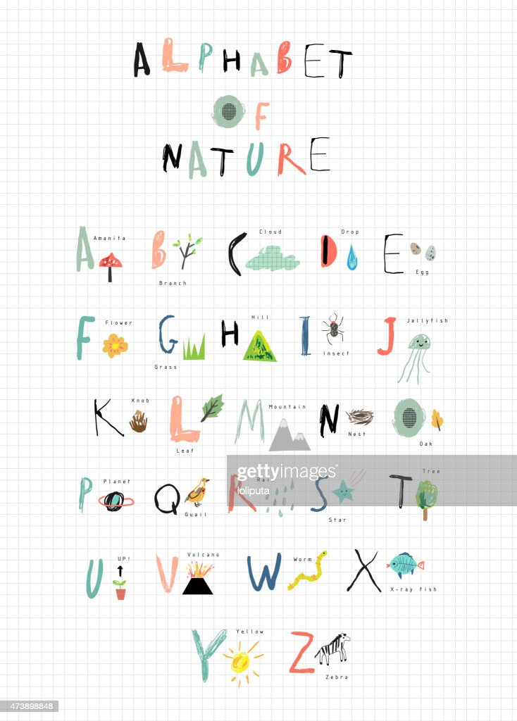 Alphabet with cute font and nature icons next to each letter