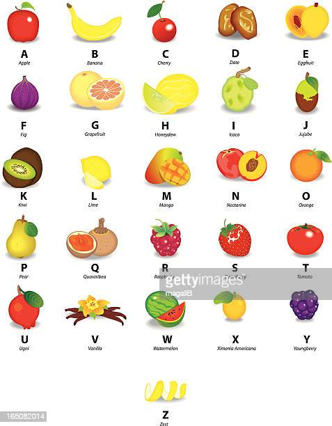 alphabet with fruits - mango fruit stock illustrations, clip art, cartoons, & icons