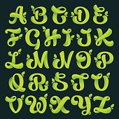 Alphabet with green leaves.