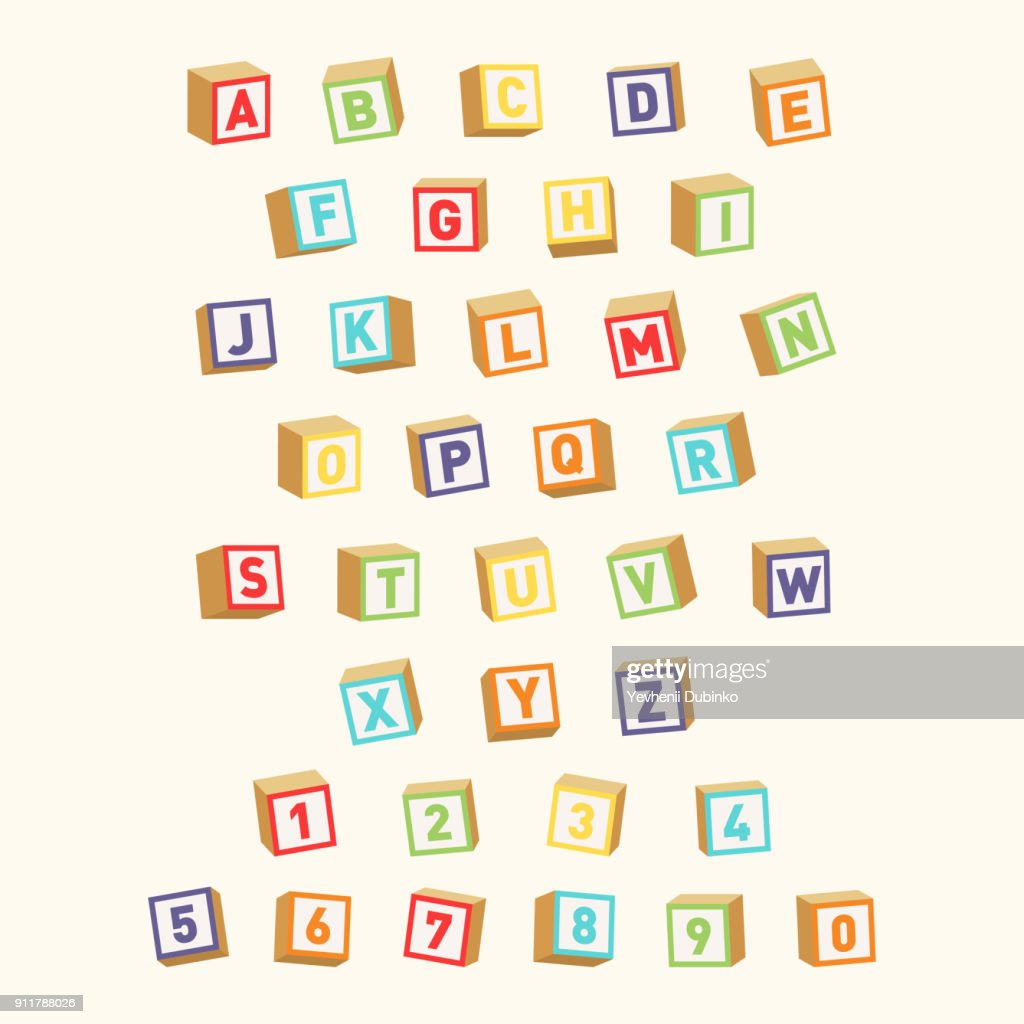 Alphabet with numbers, childish font. Colorful toy blocks for children education