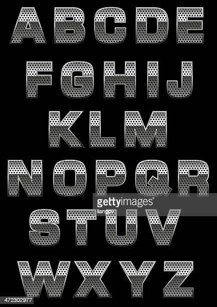 alphabet mit perforation - eisen stock-grafiken, -clipart, -cartoons und -symbole