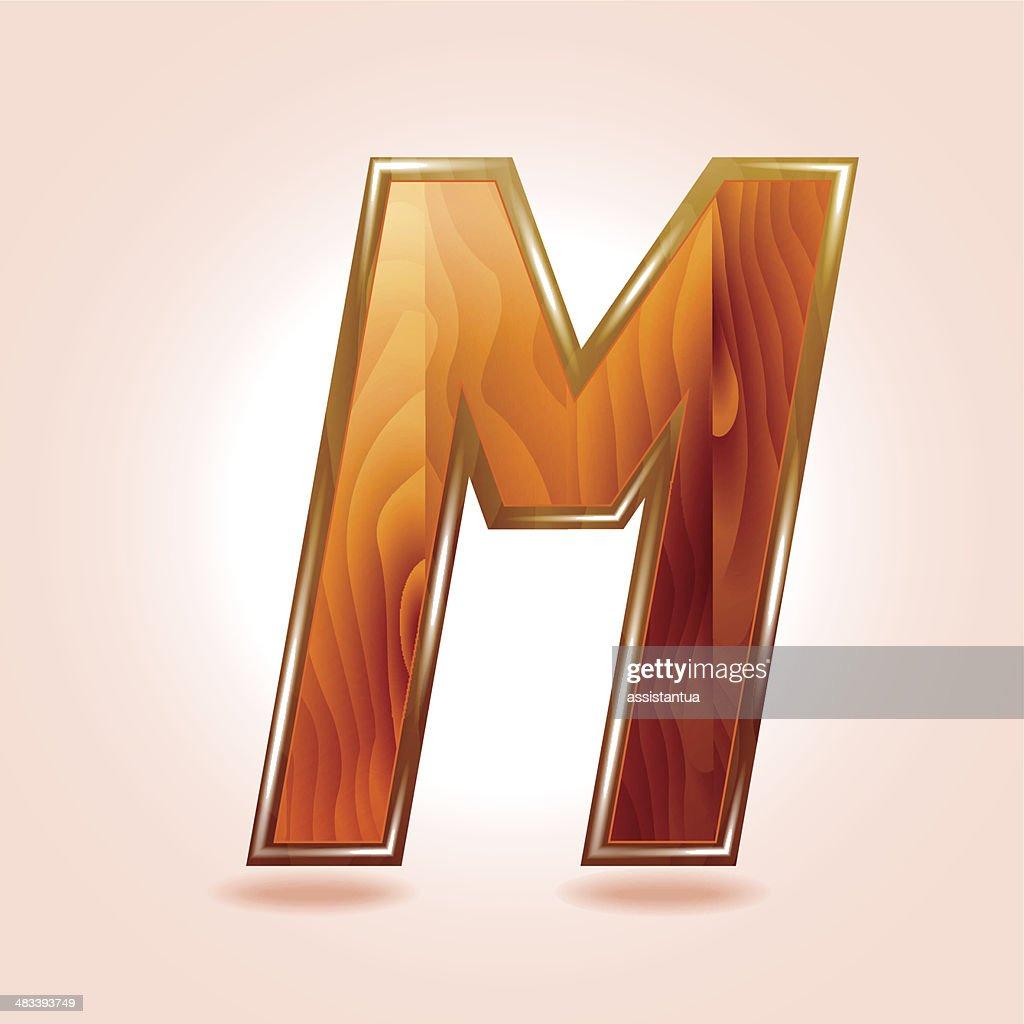 alphabet wooden letter m vector