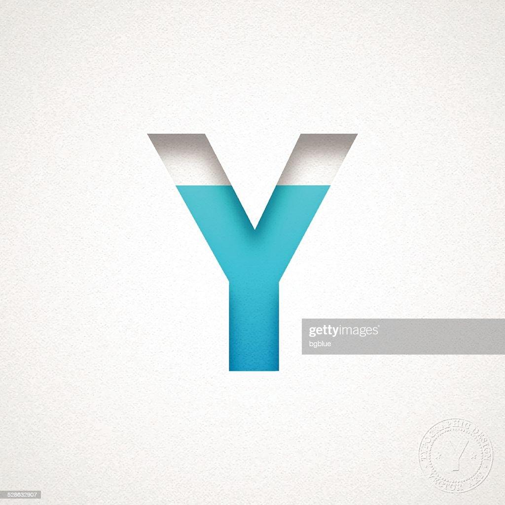 Alphabet Y Design Blue Letter On Watercolor Paper stock illustration