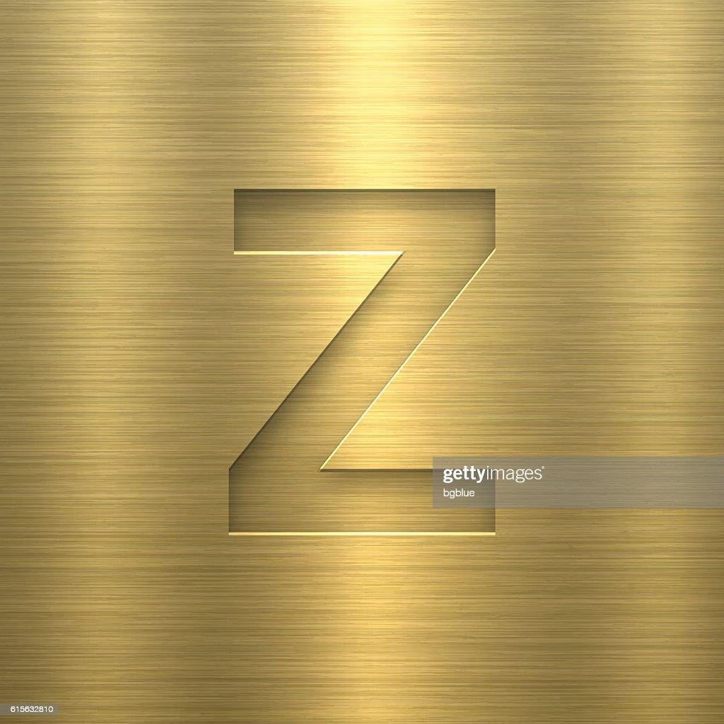 Alphabet Z Design Letter On Gold Metal Texture stock