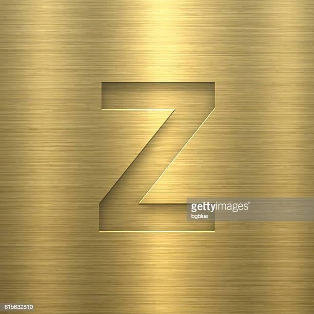Alphabet Z Design - Letter on Gold Metal Texture