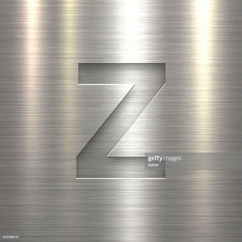 Alphabet Z Design Letter On Metal Texture Background stock