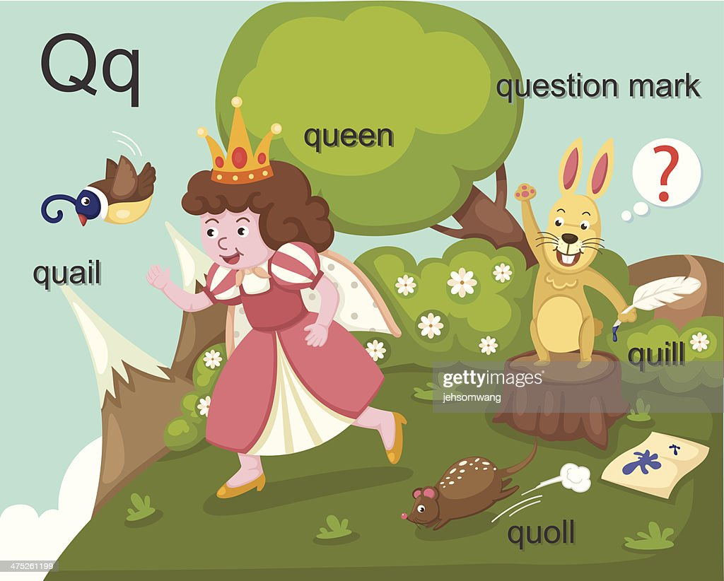 Alphabet.Q letter.quail,queen, quill,quoll,question mark