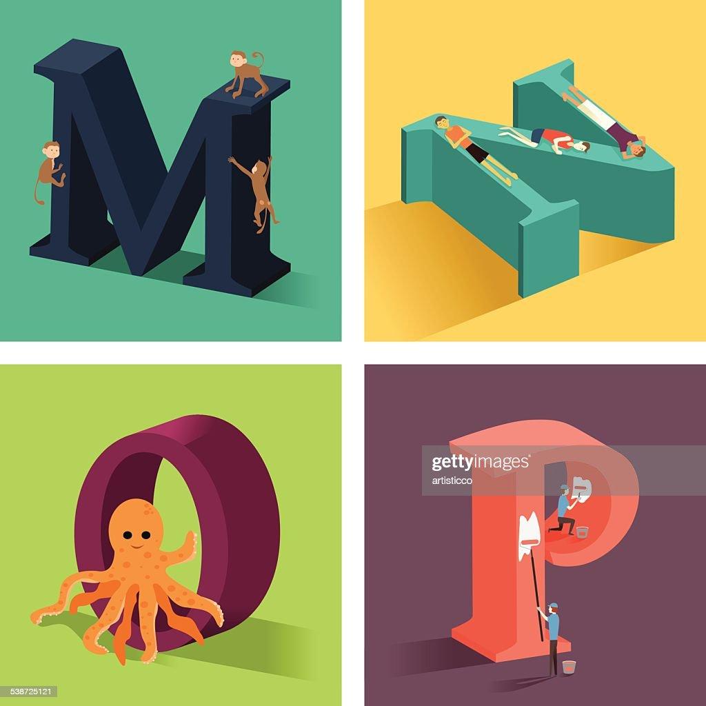 Alphabets concept in 3D
