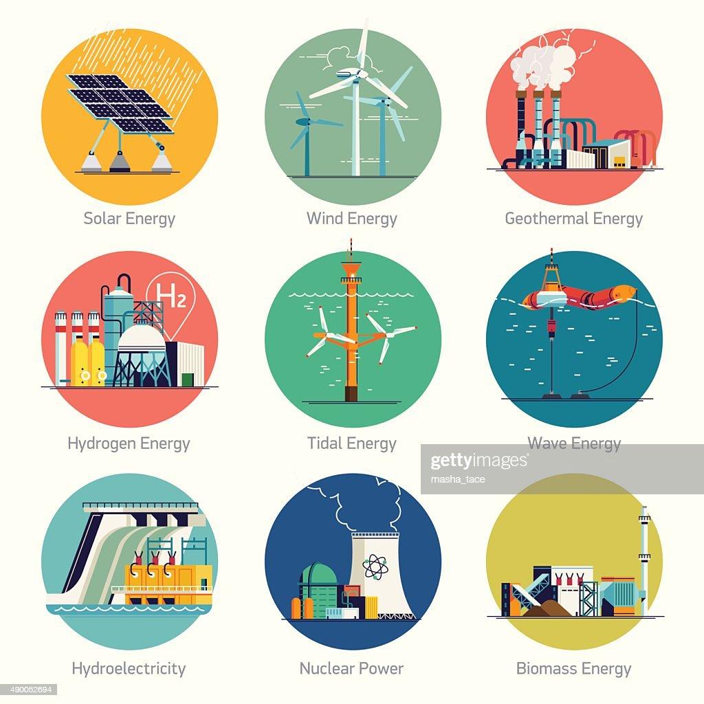 Alternative and renewable green energy icons