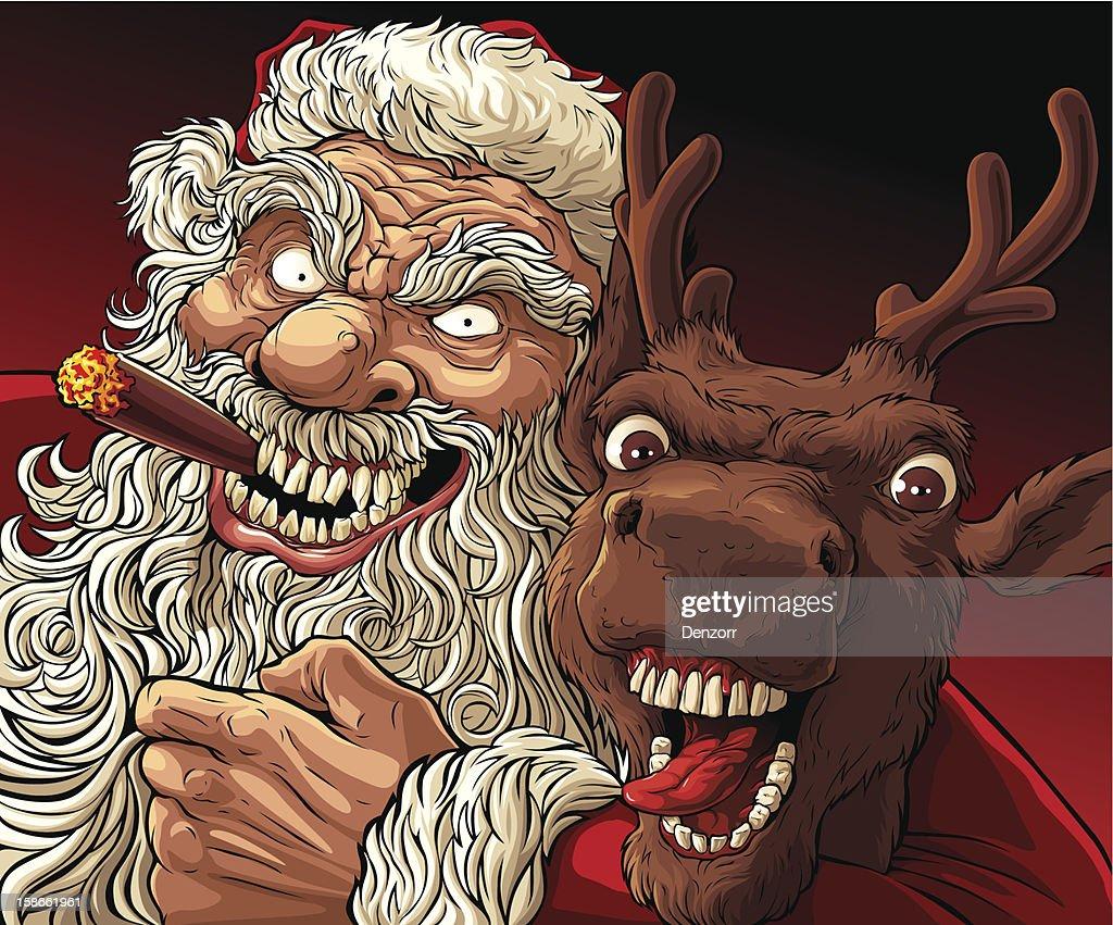 Alternative Christmas: Drunk Santa and Deer