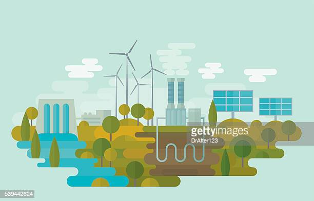 alternative clean energy - fuel and power generation stock illustrations